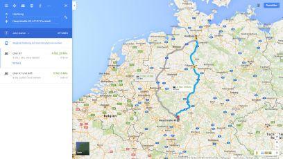 Routenbeschreibung von Hamburg zur Pension Florstädter Hof