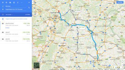 Routenbeschreibung von München zur Pension Florstädter Hof